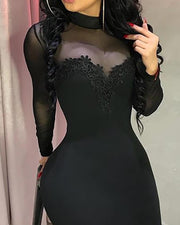 Sheer Mesh Flower Applique Bodycon Dress