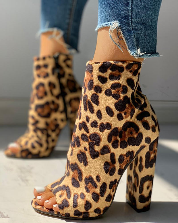 Colorful Snakeskin Chunky Heeled Boots