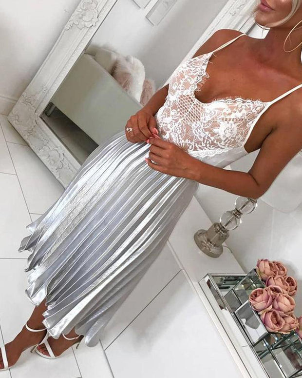 Metallic Pleated Detail Midi Skirt