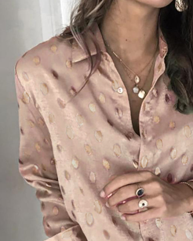 Dot Print Long Sleeve Casual Shirt