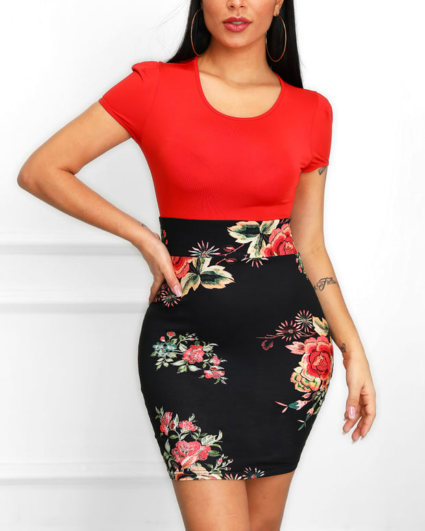 Floral Print Short Sleeve Insert Dress