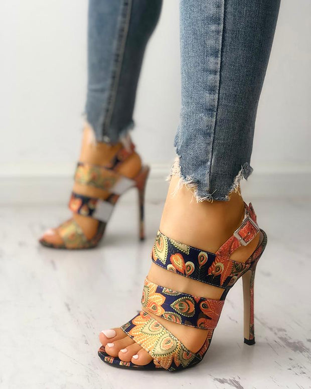 Peacock Feather Print Bandage Thin Heeled Sandals