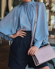 Lantern Sleeve Wide Cuff Ruched Blouse