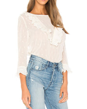 Lace Ruffles Flare Sleeve Casual Blouse