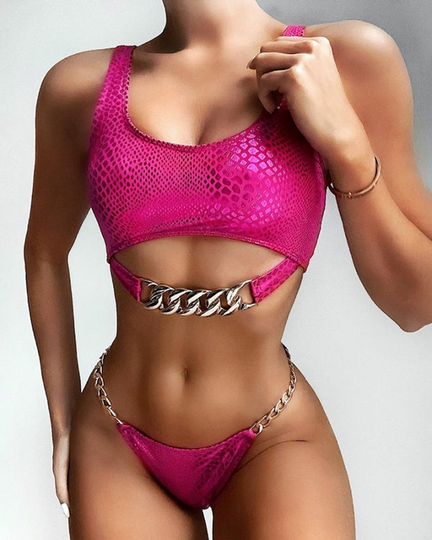 Snakeskin Print Chain Design Bikini Sets