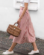 Striped Belted Chiffon Midi Skirt