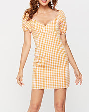 Gingham V Neck Mini Dress
