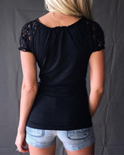 Broderie Lace Short Sleeve Blouse