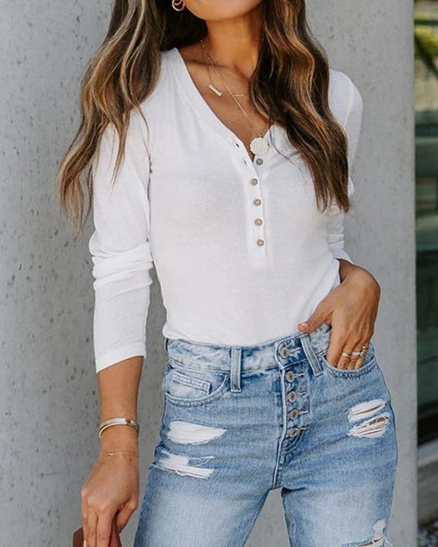 Solid Color Long Sleeve Blouse