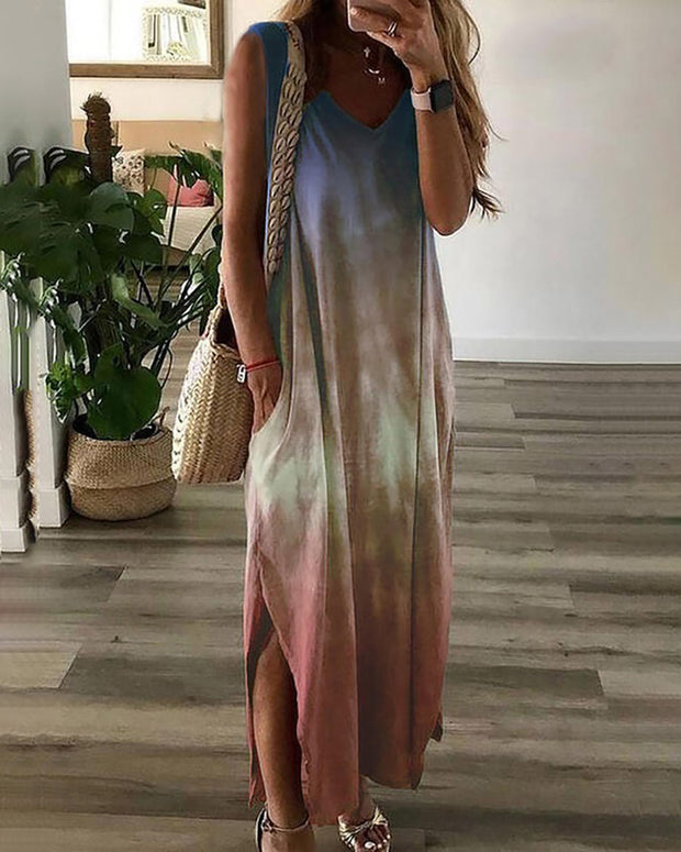Tie Dye Print V-neck Casual Dress