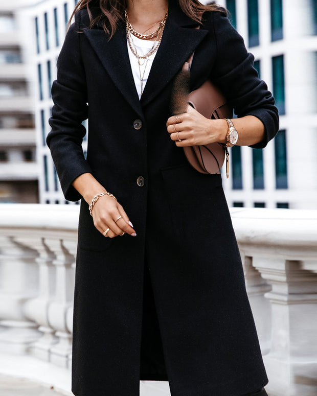 Button Design Long Sleeve Casual Longline Coat