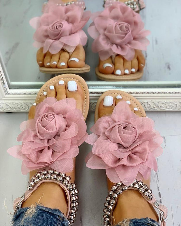 Mesh Floral Embellished Beaded Flat Sandals