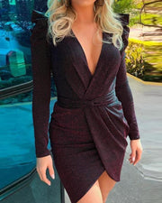Glitter Puffed Sleeve V-Neck Wrap Irregular Dress
