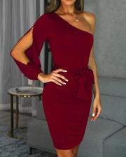 One Shoulder Slit Sleeve Bodycon Dress