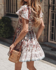 Knot Waist Floral Print Pleated Dress