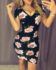 V Neck Overlap Floral Print Dress