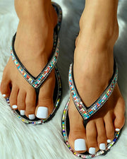 Studded Toe Post Slipper Sandals