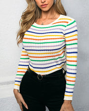 Rainbow Striped Round Neck knitting Blouse