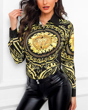 Baroque Print Long Sleeve Shirt