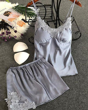 Satin Lace Trim Cami Set