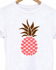 Pineapple Print Casual White T-shirt
