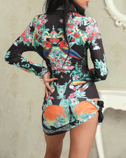Front Zipper Tropical Print Knotted Irregular Dress