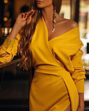Solid V Neck Slit Dress
