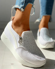 Suede Beads Design Zipper Platform Casual Sneakers