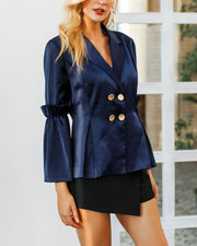 Blue Silk Suit Blazer Jacket