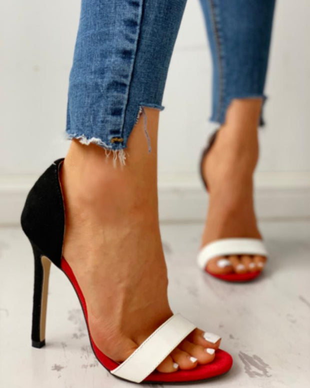 Open Toe Colorblock Thin Heeled Sandals