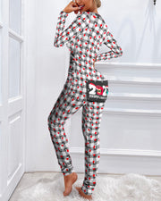 Christmas Graphic Plaid Print Functional Buttoned Flap Adults Pajamas