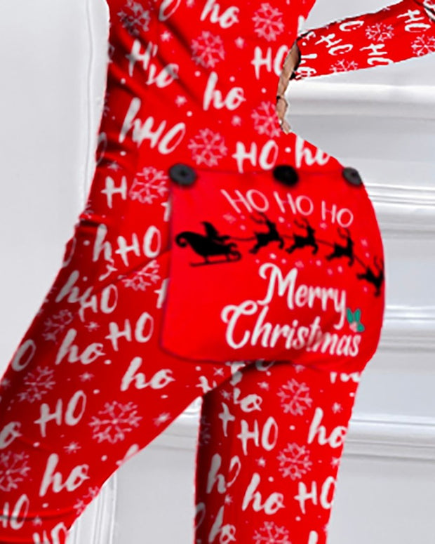 Christmas Letter Print Functional Buttoned Flap Adults Pajamas