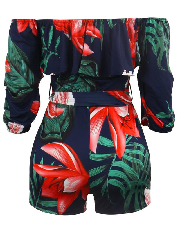 Tropical Print Belted Casual Romper
