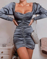 Solid Off Shoulder Ruched Long Sleeve Bodycon Dress