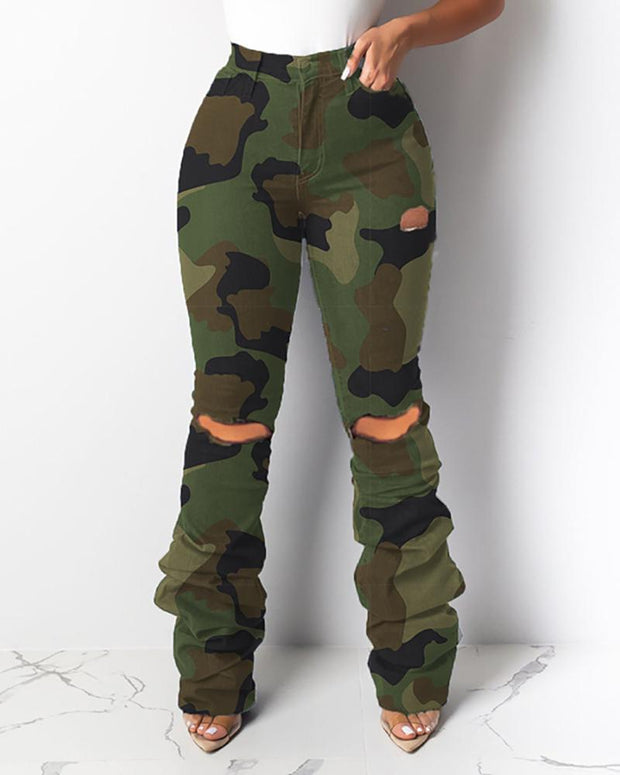 High Waist Camouflage Cut Out Ruched Layered Pants