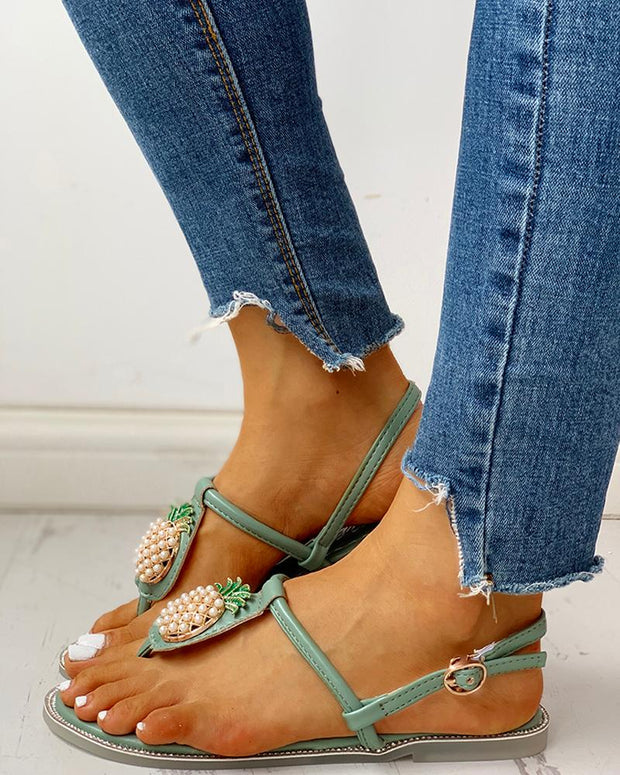 Pineapple Embellished Toe Post Flat Sandals