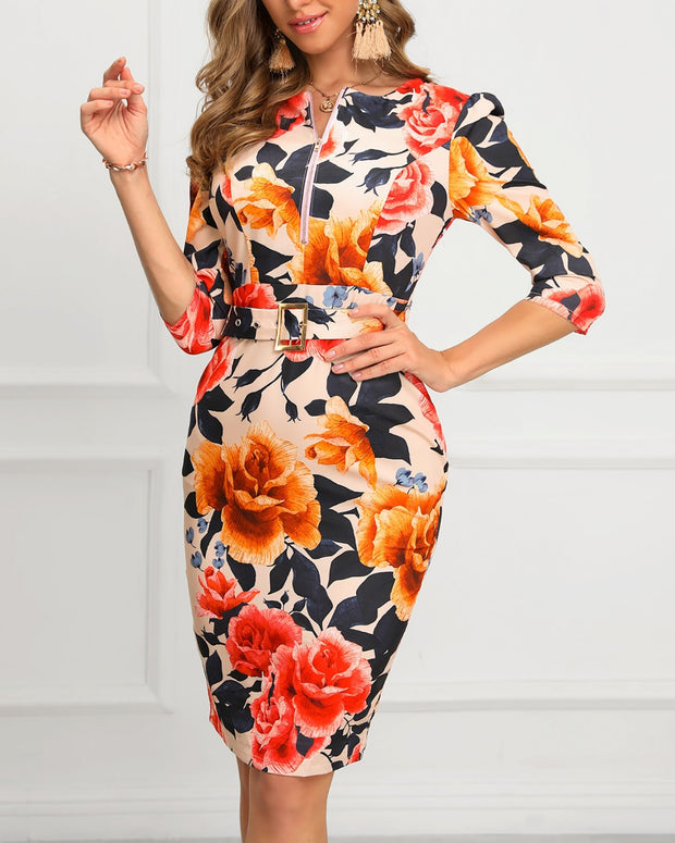 Floral Print Zipper Design Bodycon Dress