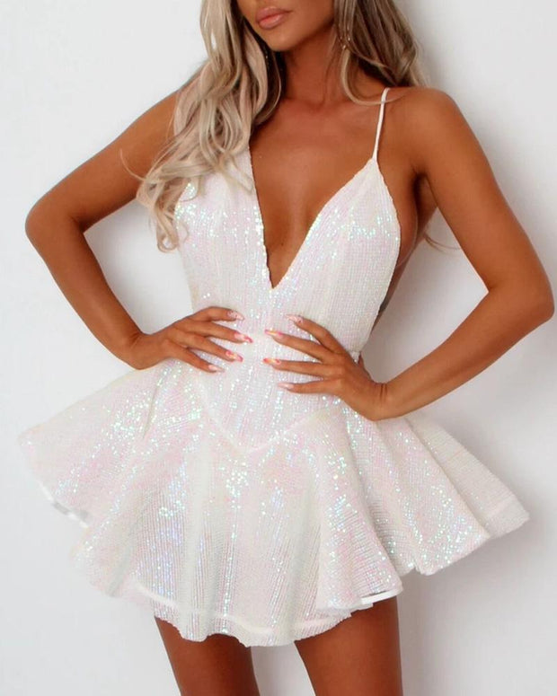 Glitter Plunge Sleveless Party Sequins Dress