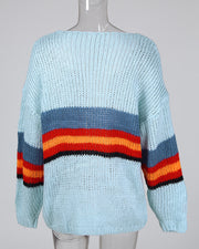 Colorblock Insert Knitting Open Front Cardigan