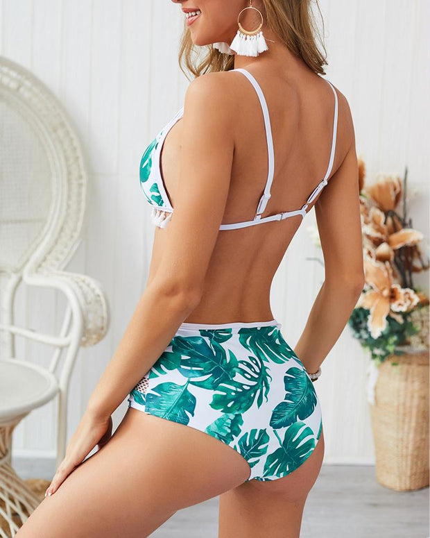 Palm Leaf Print Tassel Hollow Out Bikini Set