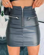 Zip Front Pocket Bodycon Skirt