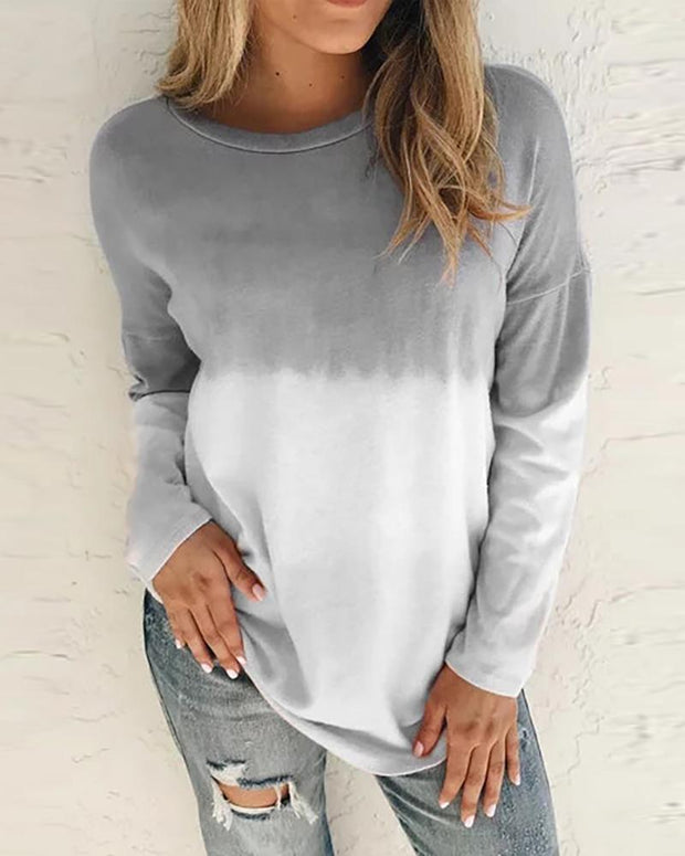 Colorblock Long Sleeve Casual Sweatshirt