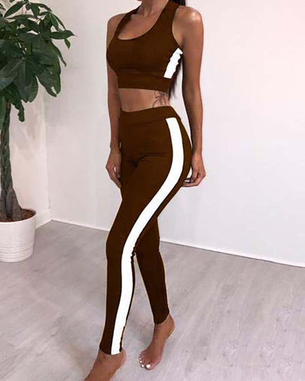 Side Stripes Cropped Long Pants Pantsuit