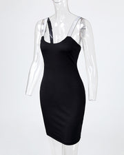 Thin Strap Colorblock Insert Bodycon Dress