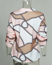 Scarf Print Roll-up Sleeve Buttoned Top