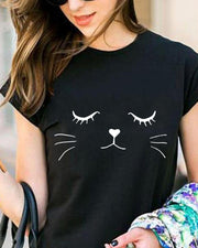 Casual Cat Pattern T-shirt