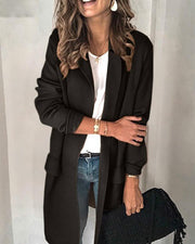Solid Pocket Design Long Sleeve Blazer Coat