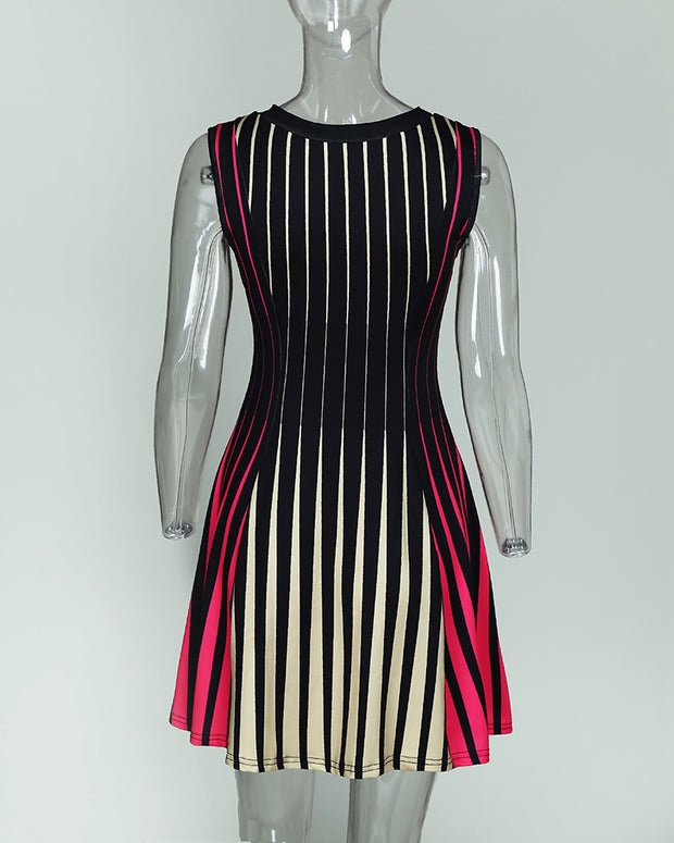 Sleeveless Multicolored Stripes Mini Dress