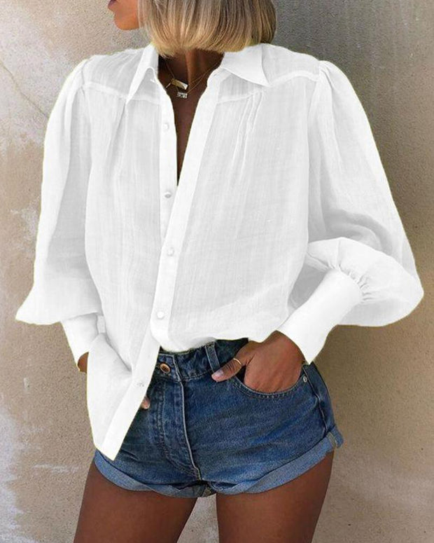 Mutton Sleeve Button Detail Blouse
