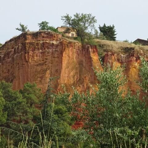 Cliffs, ochre-coloured, Rousillon, France.